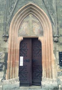 A vestry door...